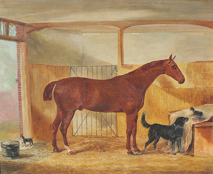 JOHN VINE STABLE PAINTING with dogs