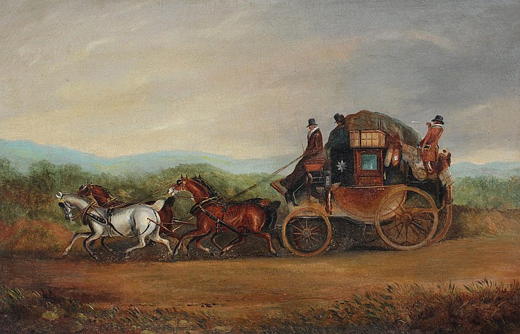 HULL LONDON COACH PAINTING BY H. HAMLIN 1850
