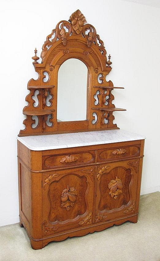 CARVED MARBLE TOP SIDEBOARD WITH MIRROR