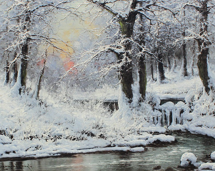 LASZLO NEOGRADY WINTER STREAM PAINTING