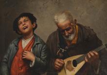 ITALIAN GENRE PAINTING OF A BOY & MAN W/MANDOLIN