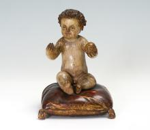 ANTIQUE CARVED WOOD BABY JESUS FIGURE