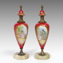 PAIR ARTIST SIGNED FRENCH PORCELAIN URNS