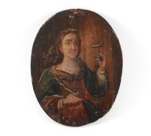 EARLY RELIGIOUS PAINTING OF A SAINT
