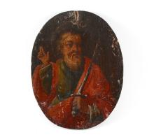 EARLY RELIGIOUS OIL/BOARD OF A SAINT WITH A SWORD