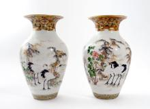 PAIR JAPANESE HAND PAINTED CRANE VASES
