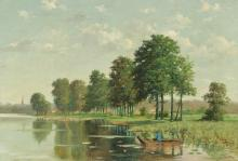 GUILLAUME LAUTERS PUNT ON A RIVER PAINTING