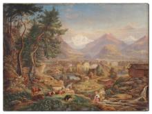 PAULUS ROETTER PANORAMIC SWISS VALLEY LANDSCAPE PAINTIN