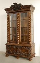 STENCEL CARVED OAK CHINA DISPLAY CABINET