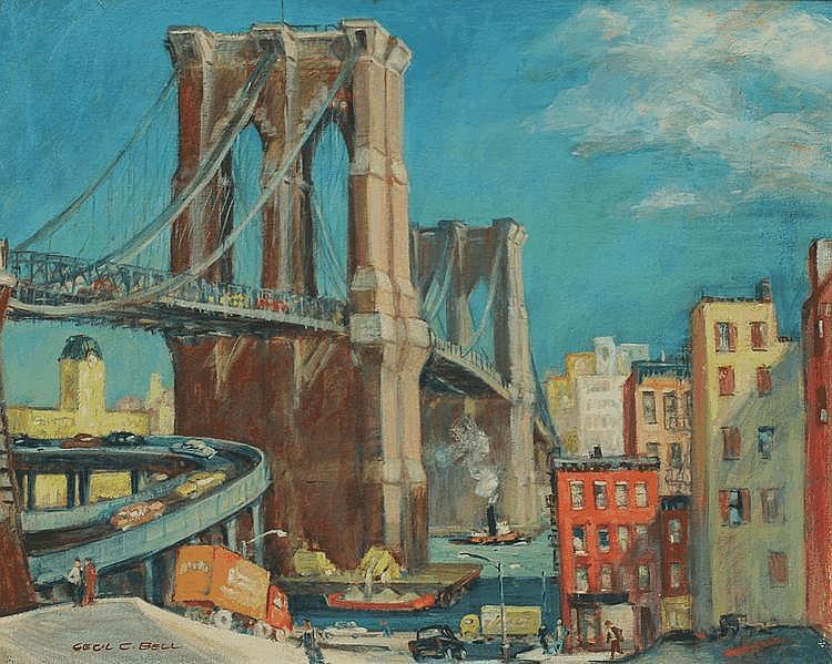 GREAT CECIL BELL BROOKLYN BRIDGE NEW YORK PAINTING