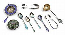 9 PIECE ASSEMBLED COLLECTION OF RUSSIAN SILVER