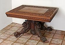CARVED FIGURAL LION PEDESTAL TABLE