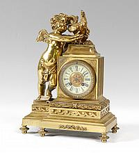 FIGURAL FRENCH GILT BRONZE CLOCK