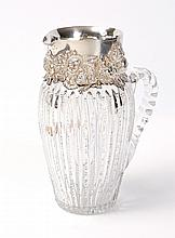 SHIEBLER STERLING MOUNTED CUT GLASS PITCHER