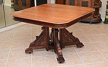 JACOBEAN STYLE EXTENSION DINING TABLE WITH 5 LEAVES