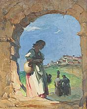 LAJOS (LOUIS) JAMBOR UNDER THE ARCH PAINTING