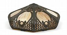 ORNATE 7 BENT PANEL SLAG GLASS LAMP SHADE