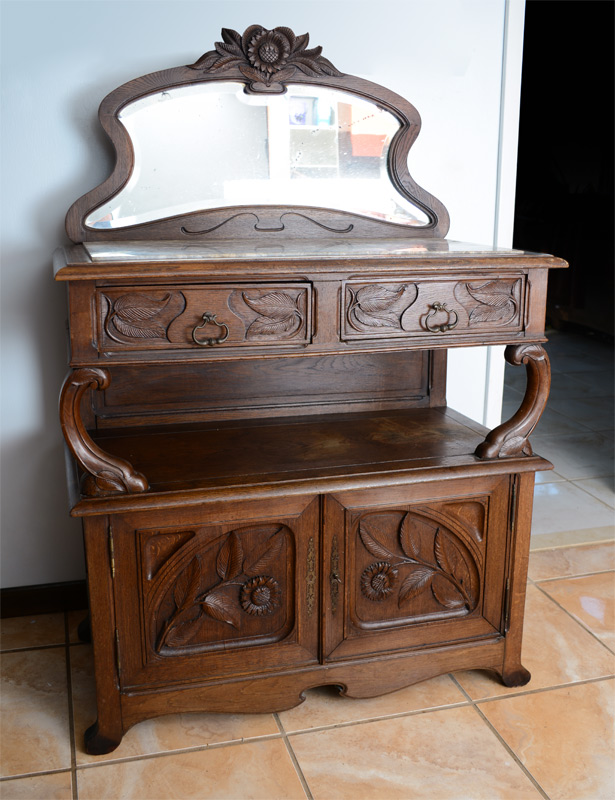 art nouveau carved marble top buffet. Black Bedroom Furniture Sets. Home Design Ideas