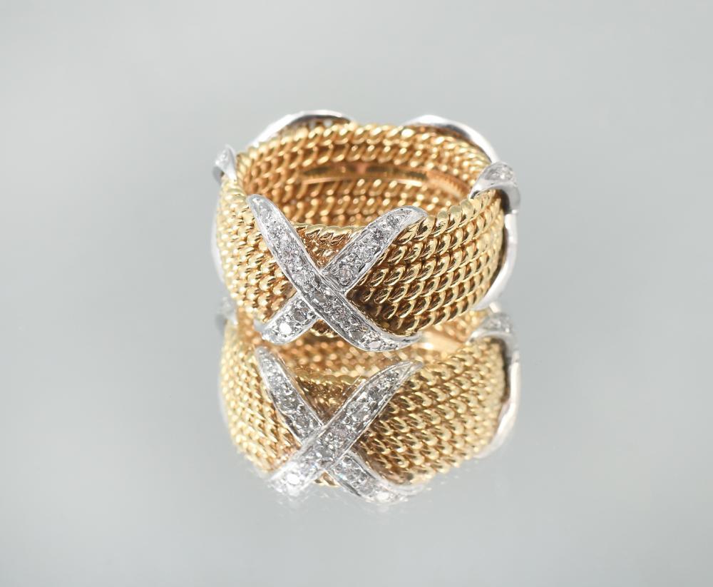 18K/PLATINUM TIFFANY & CO SCHLUMBERGER 6 ROW X RING