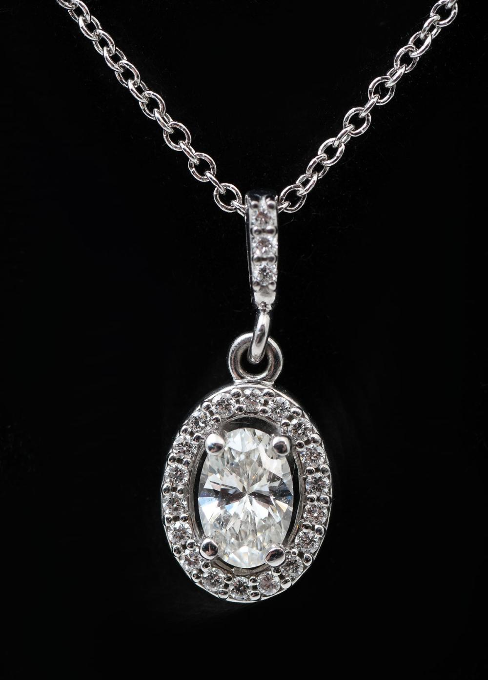 14K OVAL DIAMOND PENDANT WITH PLATINUM CHAIN