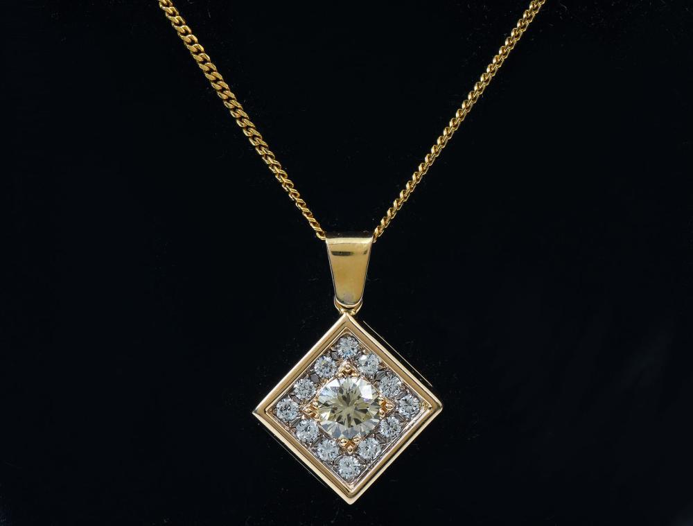 18K FANCY DIAMOND PENDANT & CHAIN