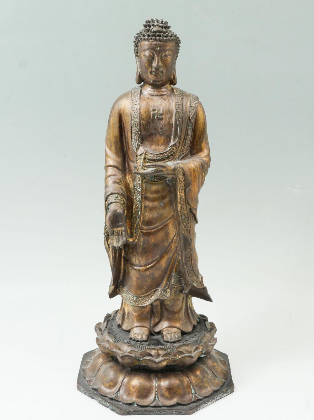 19TH CENTURY BRONZE SINO-TIBETAN BUDDHA