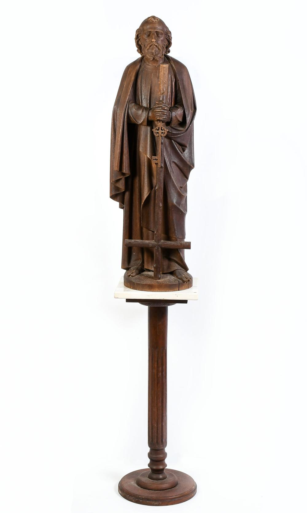 LARGE EXQUISITE WOOD CARVING OF SAINT PETER
