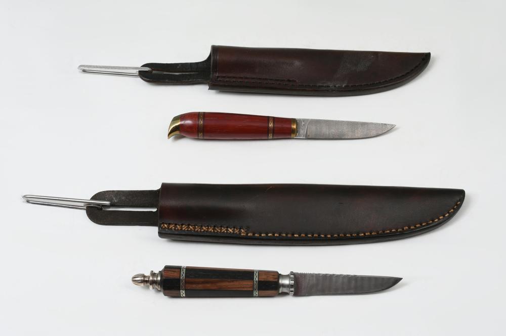 2 AJ HUBBARD DAMASCUS STEEL KNIVES WITH SHEATHS