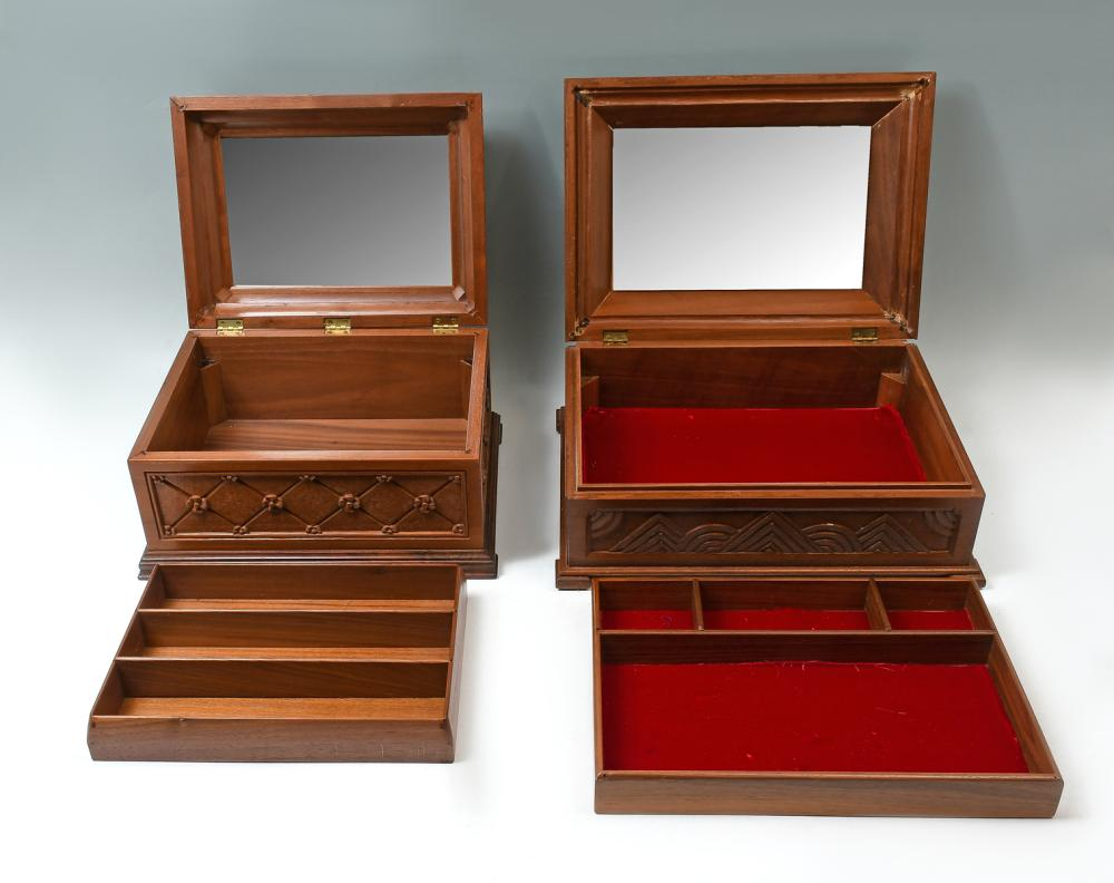 2 PC. FRANK MARTELLI CARVED JEWELRY BOXES
