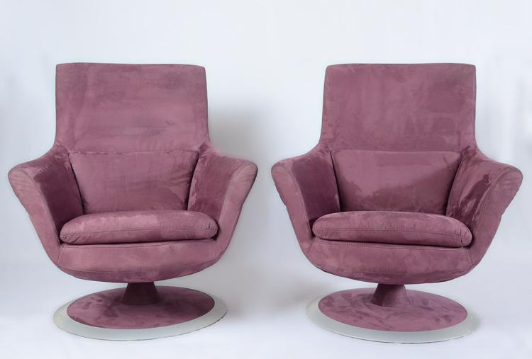 Pair W Schillig Eggplant Suede Swivel Chairs