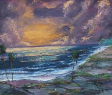 FLORIDA HIGHWAYMAN PAINTING COASTAL SUNSET BY CHIC