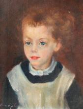 ILLEGIBLY SIGNED OIL/C PORTRAIT OF A YOUNG GIRL