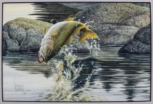LEE CABLE TROUT PAINTING