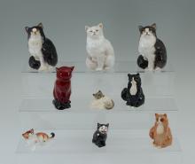 9 ROYAL DOULTON PORCELAIN CAT FIGURINES