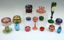 COLLECTION OF 15 BOHEMIAN GLASS ITEMS