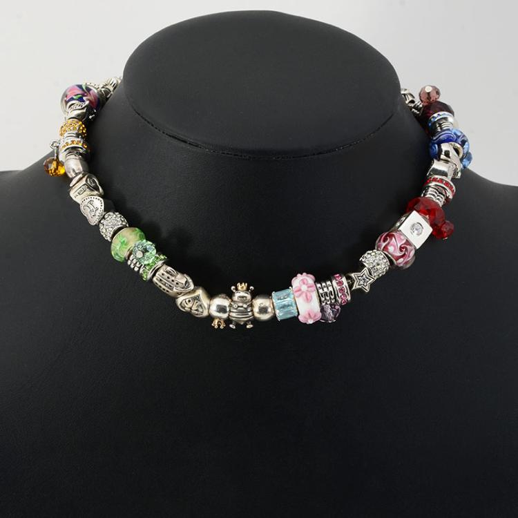 sterling pandora like necklace bracelet with charms
