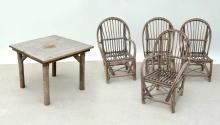LA LUNE RUSTIC ADIRONDACK TABLE & 4 CHAIRS