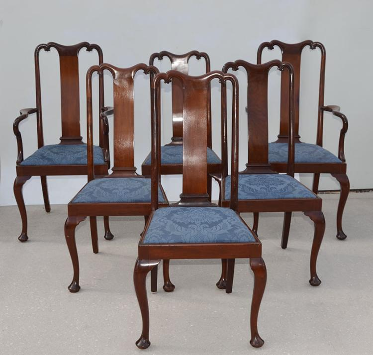 6 Mahogany Queen Anne Style Dining, Queen Anne Mahogany Dining Chairs