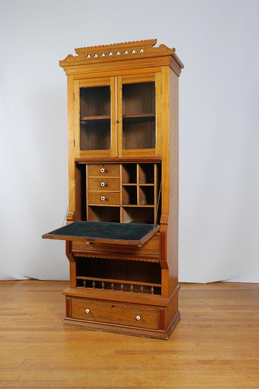 Eastlake oak secretary bookcase for Eastlake storage