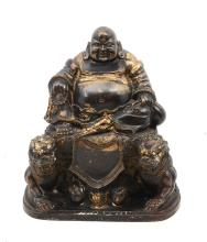 PARCEL GILT BRONZE OF SEATED HAPPY BUDDHA OR HOTEI