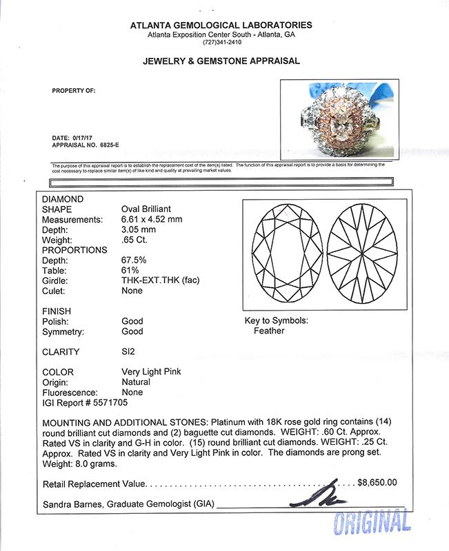 1.50CTW DIAMOND RING IN PLATINUM & 18K ROSE GOLD