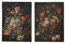 TWO EARLY OLD MASTER STYLE FLORAL STILL LIFE PAINTINGS