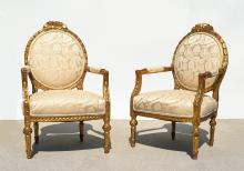 PAIR FRENCH CARVED GILTWOOD FAUTEUIL CHAIRS