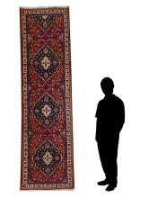 INDO-PERSIAN HAND KNOTTED WOOL RUNNER, 3'3
