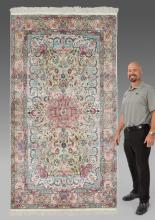 PERSIAN DESIGN HAND KNOTTED FAUX SILK RUG, 5' x 8'