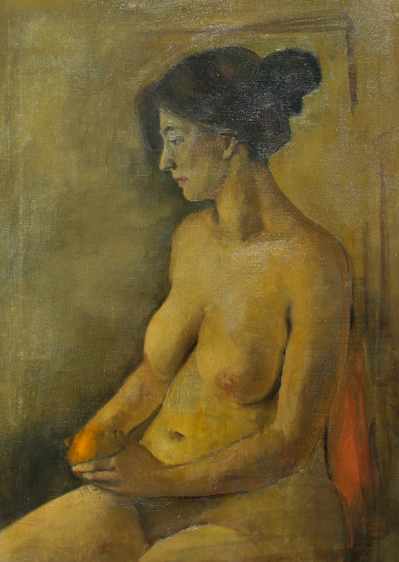 MARCIA BURNETT BOUTON SEATED FEMALE NUDE PAINTING