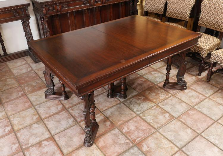 CENTURY FURNITURE GOTHIC CARVED DINING ROOM TABLE