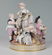 MEISSEN FIGURAL GROUP OF CHILDREN WITH SHEEP