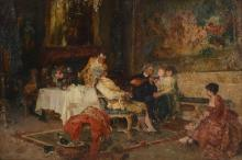 PAUL BURMEISTER GENRE PAINTING MUSIC IN THE PARLOR