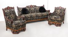 MARQUETRY INLAID CARVED VICTORIAN PARLOR SET
